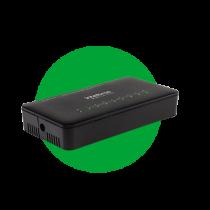 Switch 8 portas Fast Ethernet com VLAN Fixa e proteção antissurto SF 800 VLAN ULTRA